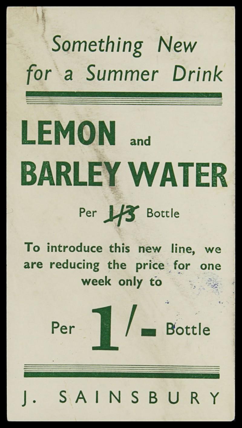 SA/MARK/ADV/3/3/7/3 - 'Something New for a Summer Drink' (Lemon Barley Water leaflet)