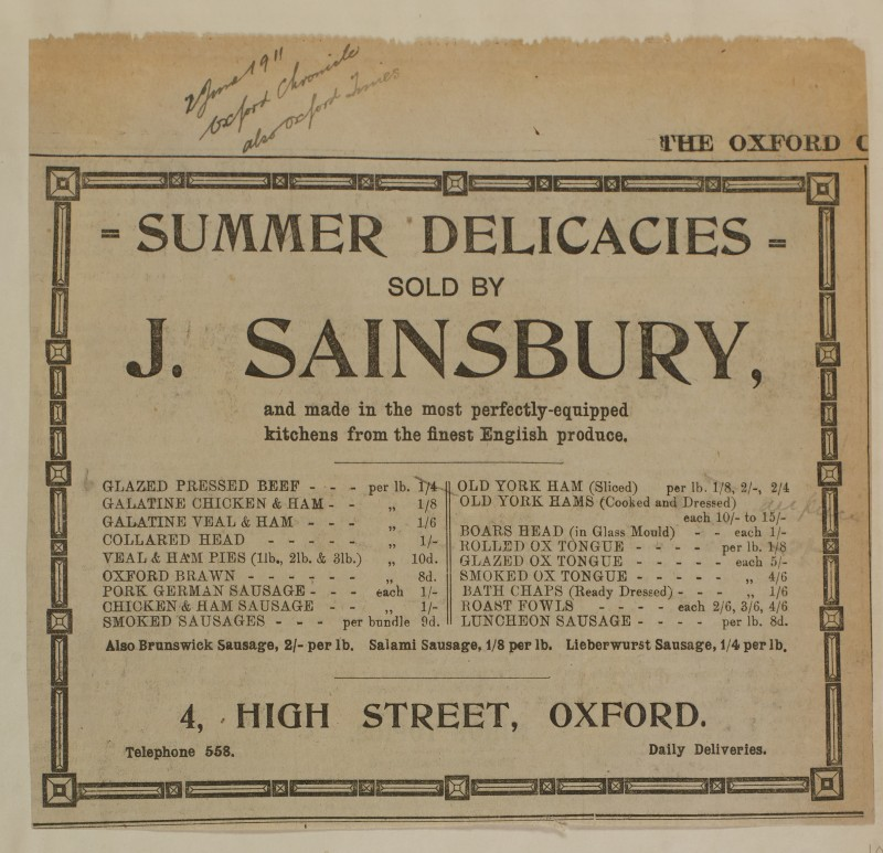 SA/MARK/ADV/1/1/1/1/1/6/1/100 - Newspaper advert for 'Summer Delicacies, Meat, Game, Pies, Sausage, Brawn, Fowl', 1911