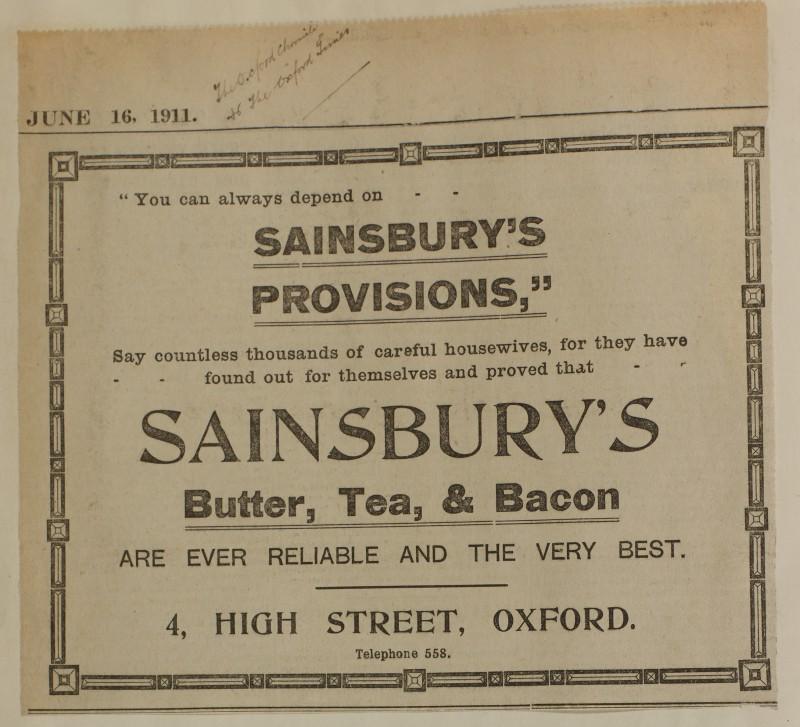 SA/MARK/ADV/1/1/1/1/1/6/1/102 - Newspaper advert for butter, tea and bacon, 1911