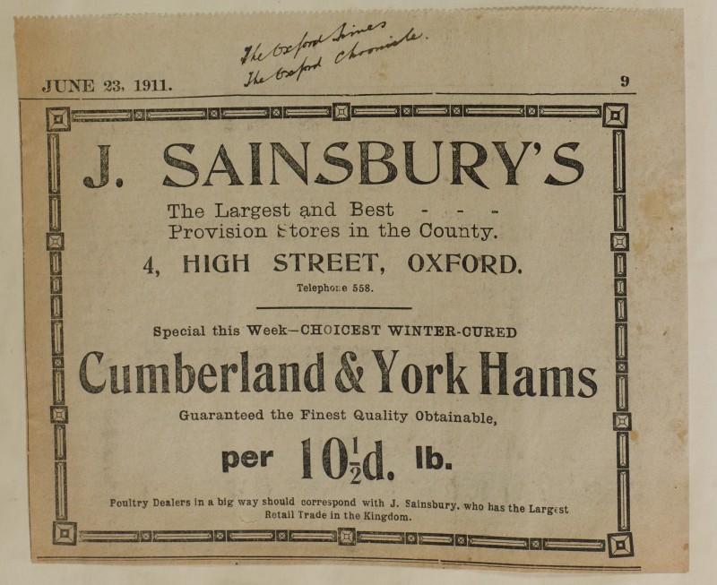 SA/MARK/ADV/1/1/1/1/1/6/1/103 - Newspaper advert for Cumberland & York Hams, 1911