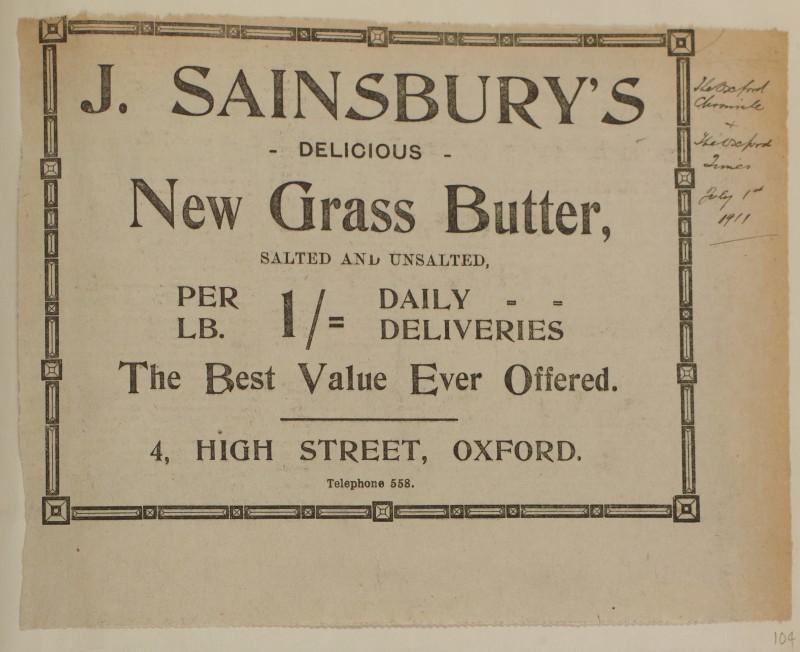 SA/MARK/ADV/1/1/1/1/1/6/1/104 - Newspaper advert for New Grass Butter, 1911