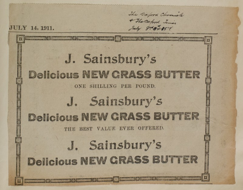 SA/MARK/ADV/1/1/1/1/1/6/1/105 - Newspaper advert for New grass Butter, July 8th & 15th 1911