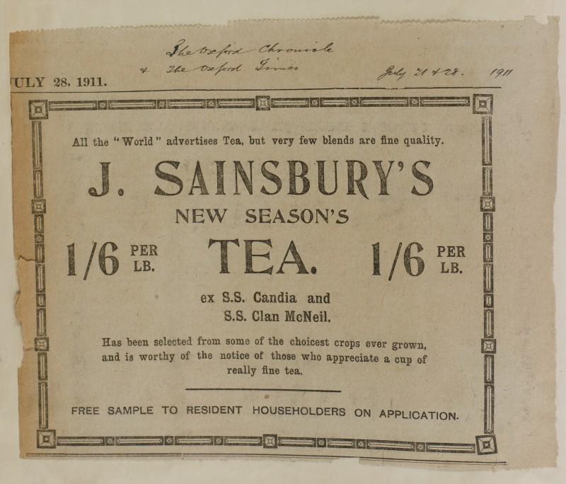SA/MARK/ADV/1/1/1/1/1/6/1/107 - Newspaper advert for New Season's Tea, 1911
