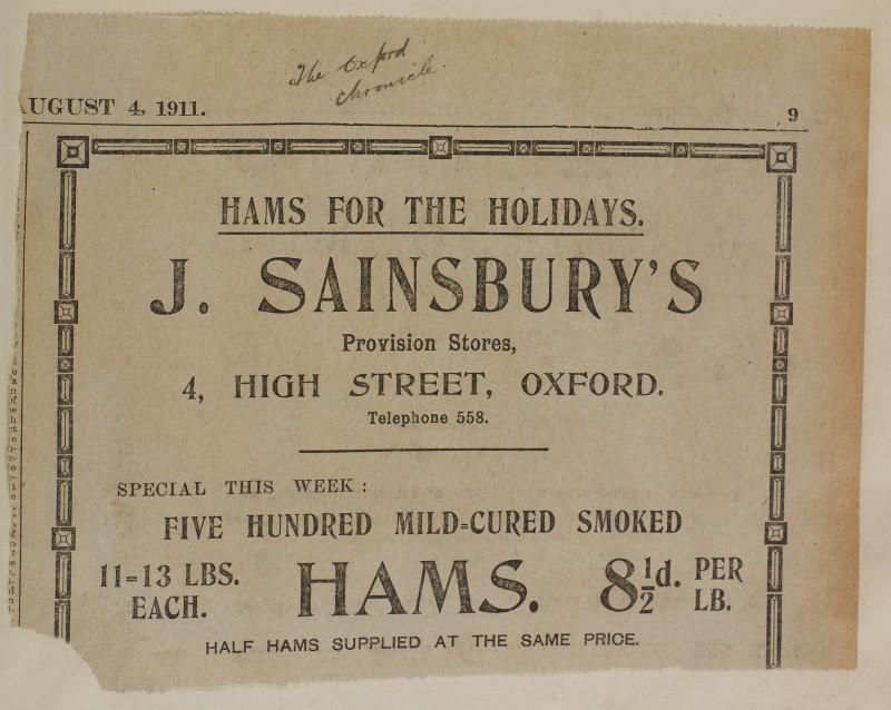 SA/MARK/ADV/1/1/1/1/1/6/1/108 - Newspaper advert for Hams, 1911