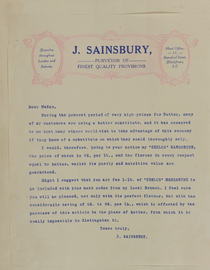 SA/MARK/ADV/1/1/1/1/1/6/1/109 - Headed paper letter from Head Office regarding Butter substitutes and Crelos Margarine, 1911