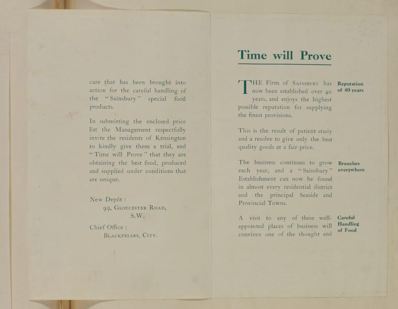 SA/MARK/ADV/1/1/1/1/1/6/1/110 - Paper leaflet reputation statement sent accompanied by price list, 1911