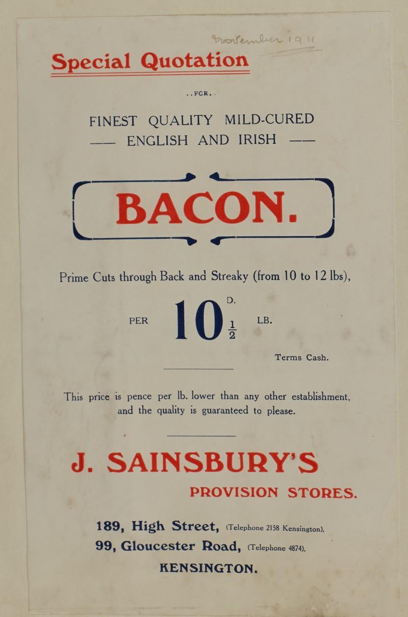 SA/MARK/ADV/1/1/1/1/1/6/1/111 - 'Special Quotation' advert for bacon, November, 1911