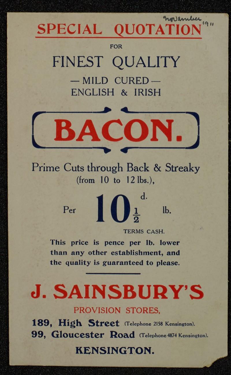 SA/MARK/ADV/1/1/1/1/1/6/1/112 - Card Special Quotation advert for Bacon, November, 1911