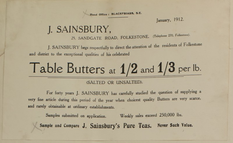SA/MARK/ADV/1/1/1/1/1/6/1/115 - Note from Head Office to sample Table Butters, Pure teas, 1912