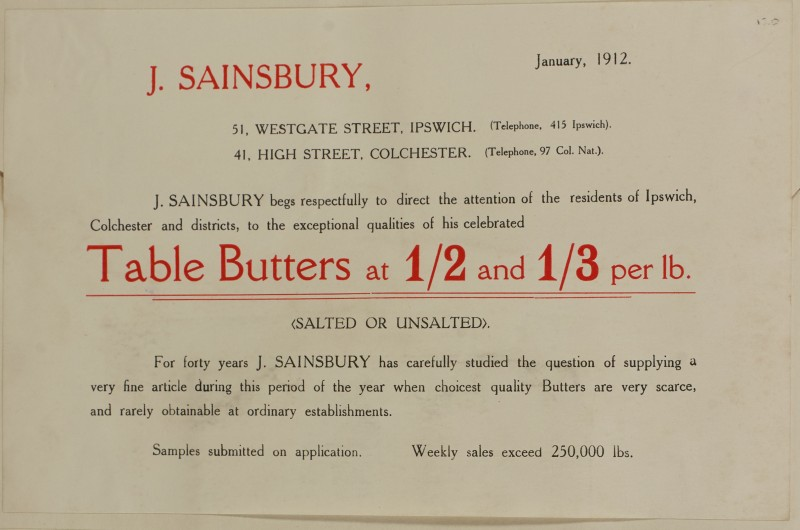 SA/MARK/ADV/1/1/1/1/1/6/1/116 - Note style advert for Table Butters, 1912