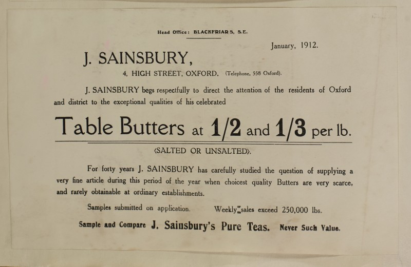 SA/MARK/ADV/1/1/1/1/1/6/1/117 - Note from Head Office to sample Table Butters, Pure teas, 1912