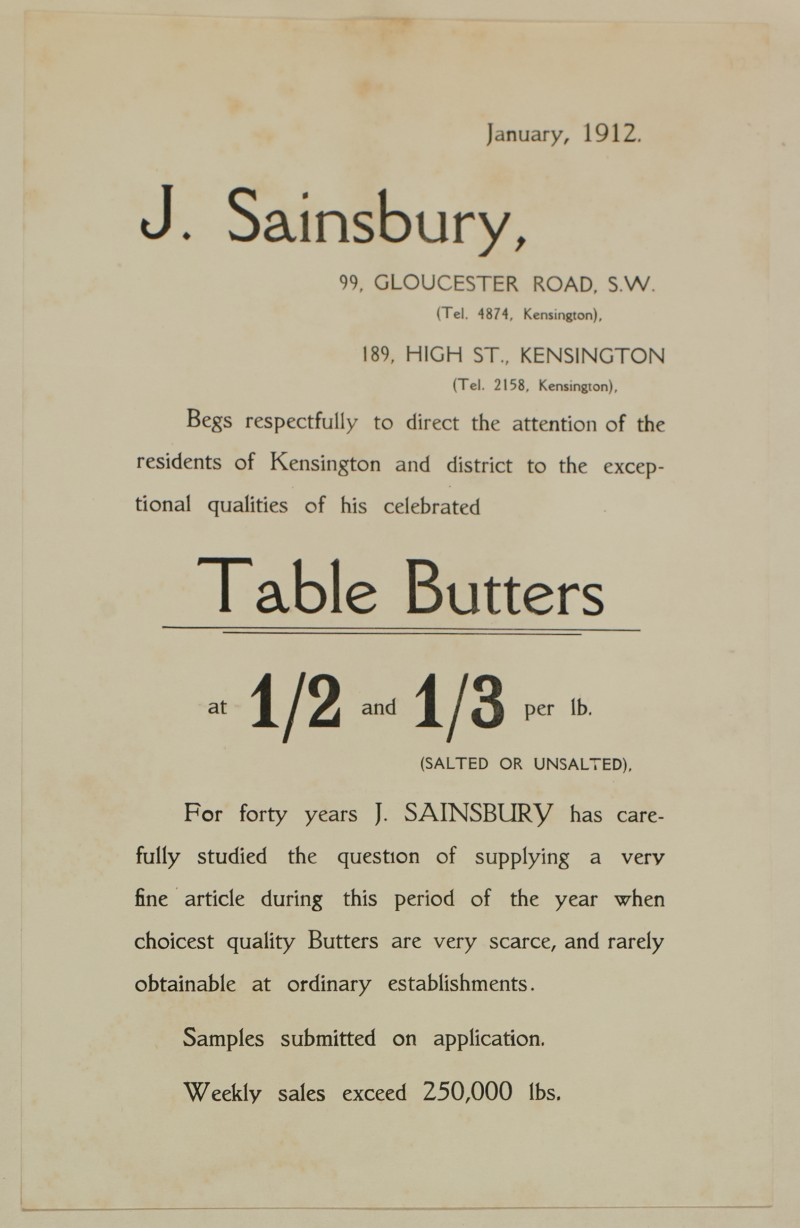 SA/MARK/ADV/1/1/1/1/1/6/1/118 - Note style advert for Table Butters, 1912