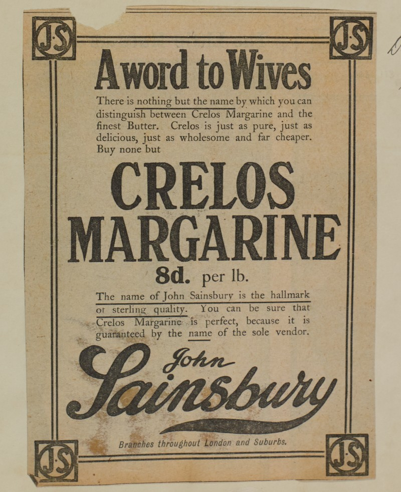 SA/MARK/ADV/1/1/1/1/1/6/1/119 - 'A Word to Wives' Newspaper advert for Crelos Margarine, 1911