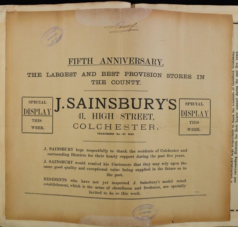 SA/MARK/ADV/1/1/1/1/1/6/1/120 - 'Fifth Anniversary' Newspaper advert, 1911