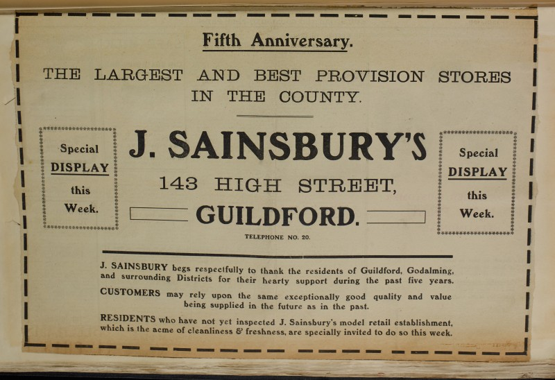 SA/MARK/ADV/1/1/1/1/1/6/1/121 - 'Fifth Anniversary' Newspaper advert, [1911]