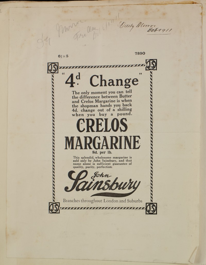 SA/MARK/ADV/1/1/1/1/1/6/1/122 - Newspaper advert for Crelos Margarine, 1911