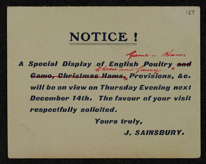 SA/MARK/ADV/1/1/1/1/1/6/1/123 - 'Notice!' small card advert for Poultry, Game, Hams, Cheese and Provisions, 1911
