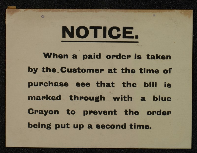 SA/MARK/ADV/1/1/1/1/1/6/1/124 - Small Card Staff Notice, 1912