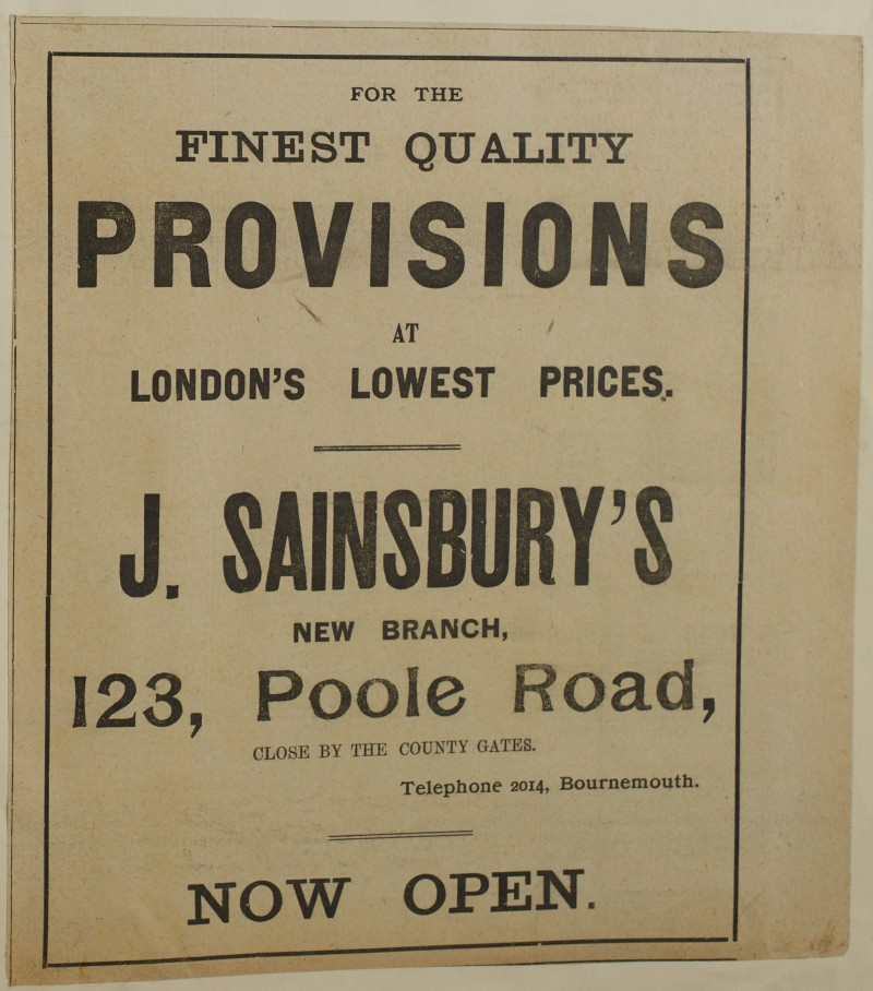 SA/MARK/ADV/1/1/1/1/1/6/1/125 - Newspaper advert for opening of New Branch, 1912