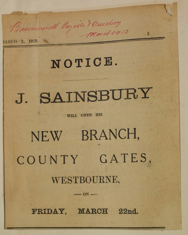 SA/MARK/ADV/1/1/1/1/1/6/1/126 - Newspaper advert for opening of New Branch, 1912