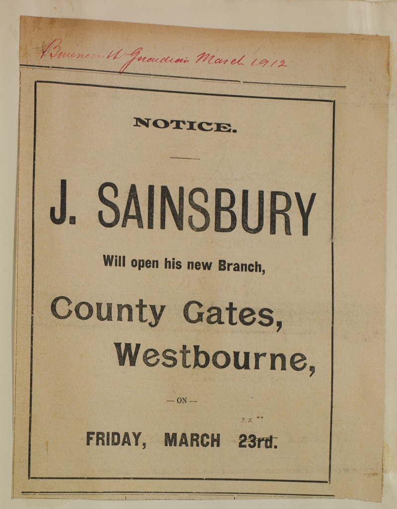 SA/MARK/ADV/1/1/1/1/1/6/1/127 - Newspaper advert for opening of New Branch 1912