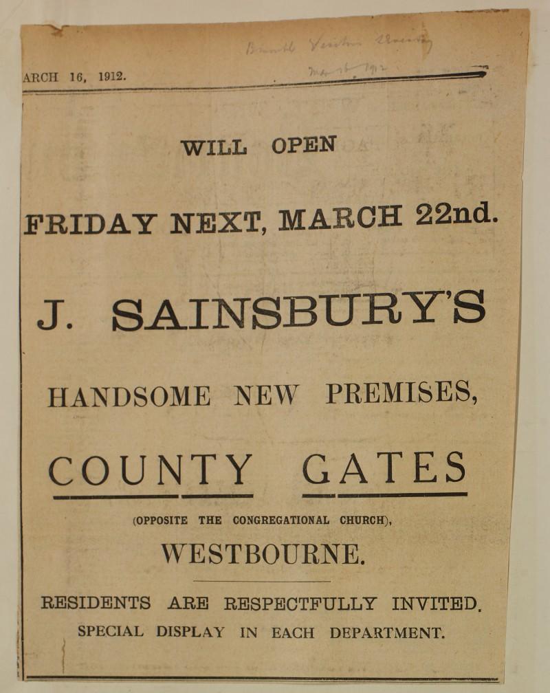 SA/MARK/ADV/1/1/1/1/1/6/1/128 - Newspaper advert opening of new branch, 1912
