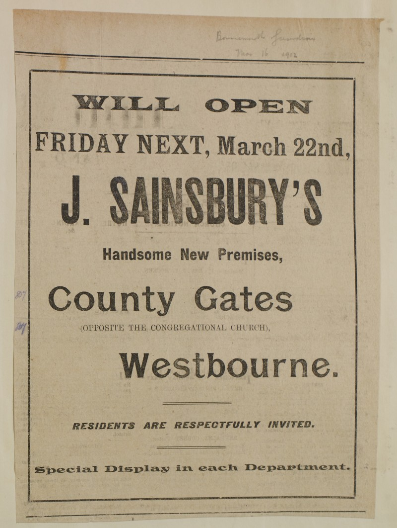 SA/MARK/ADV/1/1/1/1/1/6/1/129 - Newspaper advert for opening of new branch, 1912
