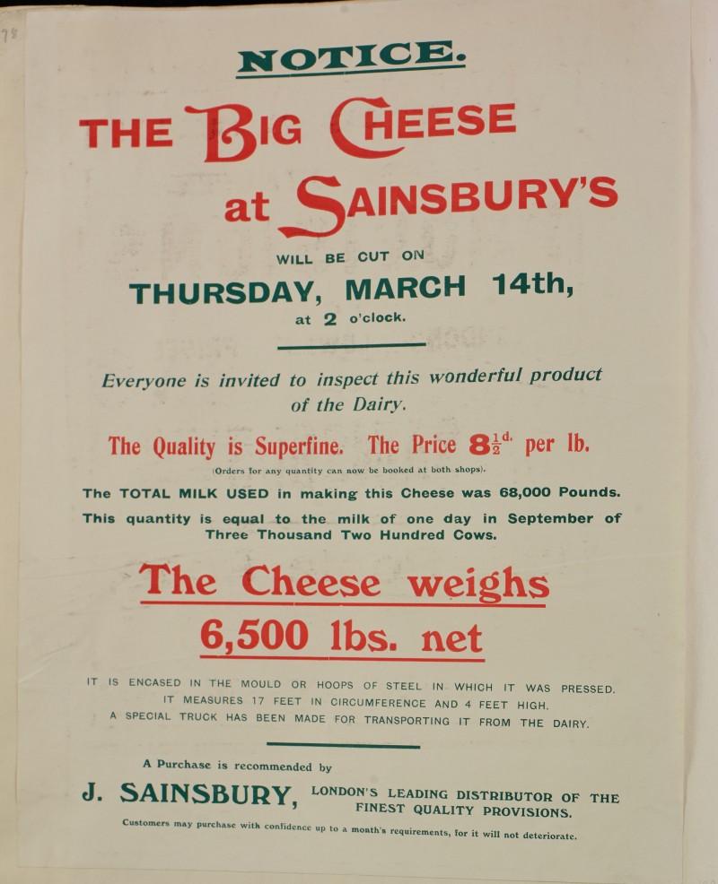 SA/MARK/ADV/1/1/1/1/1/6/1/130 - Advertisement for 'The Big Cheese' event, 1912