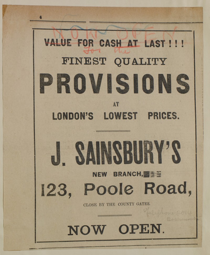 SA/MARK/ADV/1/1/1/1/1/6/1/132 - Newspaper advert for new branch opening, Poole Road, 1912