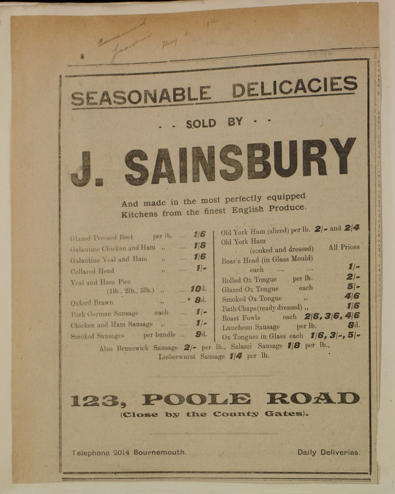SA/MARK/ADV/1/1/1/1/1/6/1/133 - Newspaper advert for Meat, Poultry, Game, 1912