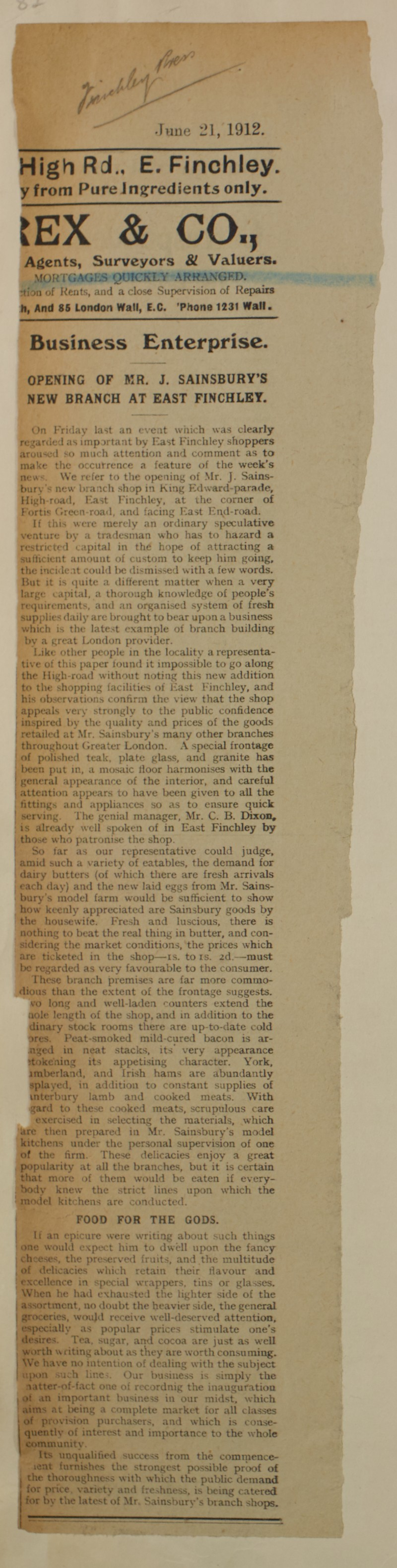 SA/MARK/ADV/1/1/1/1/1/6/1/136 - Newspaper article for 'Opening of Mr J. Sainsbury's new branch at East Finchley', 1912