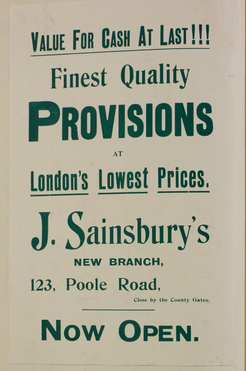 SA/MARK/ADV/1/1/1/1/1/6/1/137 - 'Value for Cash At Last!!!' new branch at Poole flyer, [1912]