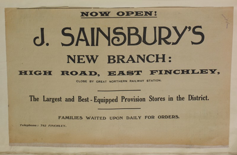 SA/MARK/ADV/1/1/1/1/1/6/1/138 - Newspaper advert for Opening of New Branch at East Finchley, [1912]