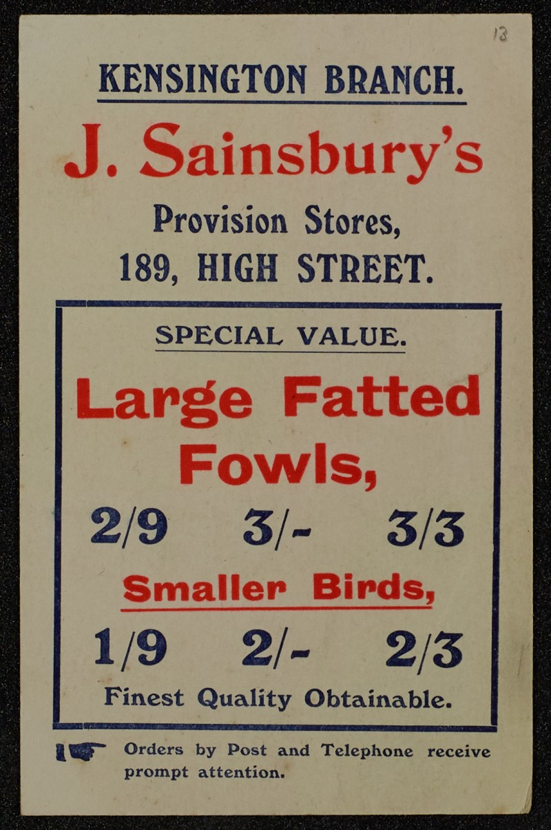 SA/MARK/ADV/1/1/1/1/1/6/1/13 - Large Fatted Fowls advertisement, 1909