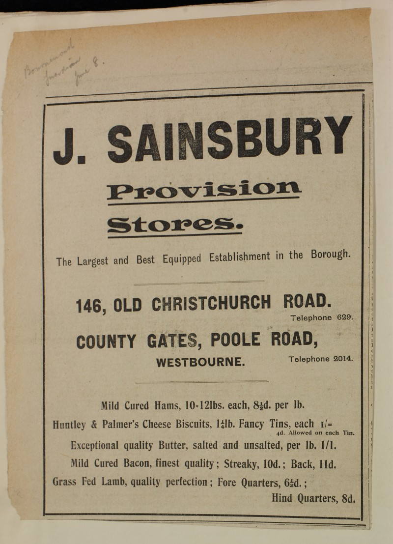 SA/MARK/ADV/1/1/1/1/1/6/1/141 - Newspaper advert for Hams, Cheese Biscuits, Butter, Bacon and Meat, [1912]