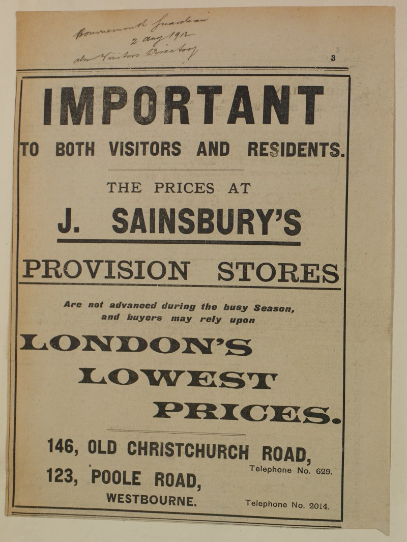 SA/MARK/ADV/1/1/1/1/1/6/1/143 - Newspaper advert for 'London's Lowest Prices', 1912