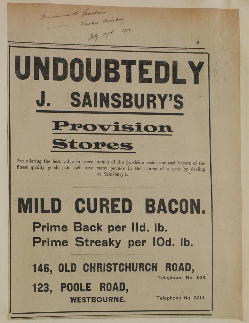 SA/MARK/ADV/1/1/1/1/1/6/1/144 - Newspaper advert for 'Mild Cured Bacon', 1912