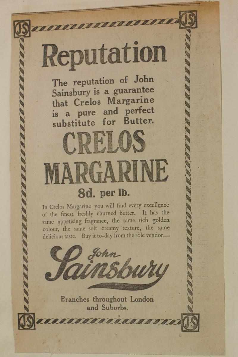 SA/MARK/ADV/1/1/1/1/1/6/1/145 - Newspaper advert for Crelos Margarine, [1912]