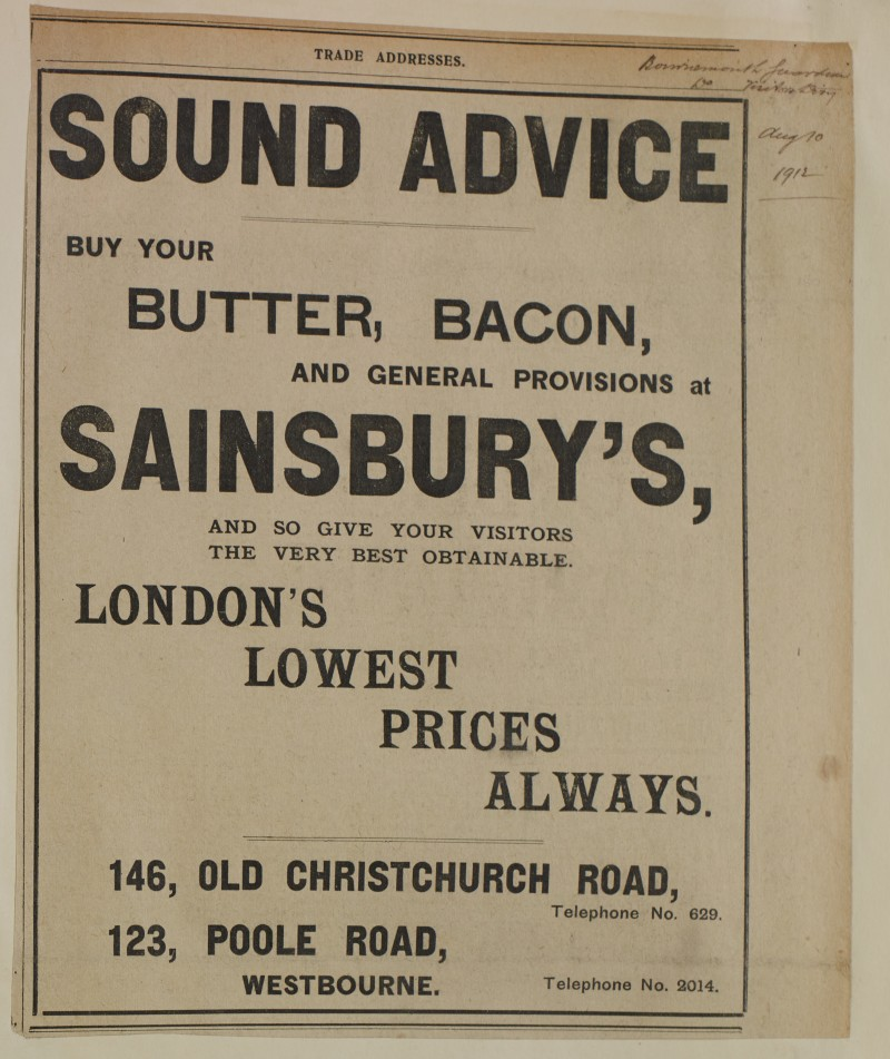 SA/MARK/ADV/1/1/1/1/1/6/1/146 - 'Sound Advice' newspaper advert for Butter, Bacon and General Provisions, 1912