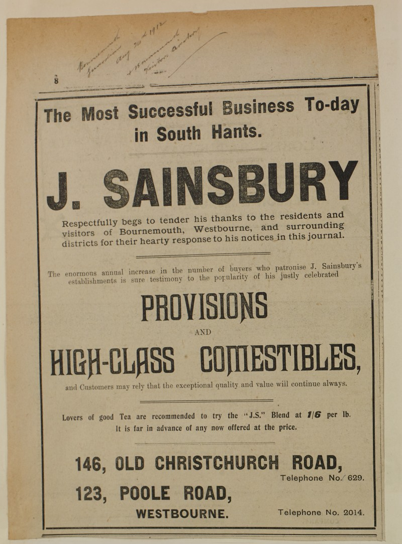 SA/MARK/ADV/1/1/1/1/1/6/1/147 - 'The Most Successful Business To-day in South Hants' newspaper advert, thanking customers for their patronage, 1912