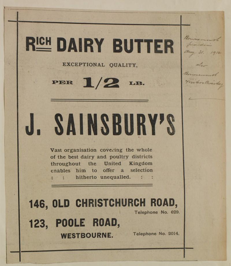 SA/MARK/ADV/1/1/1/1/1/6/1/149 - 'Rich Dairy Butter' newspaper advert, 1912