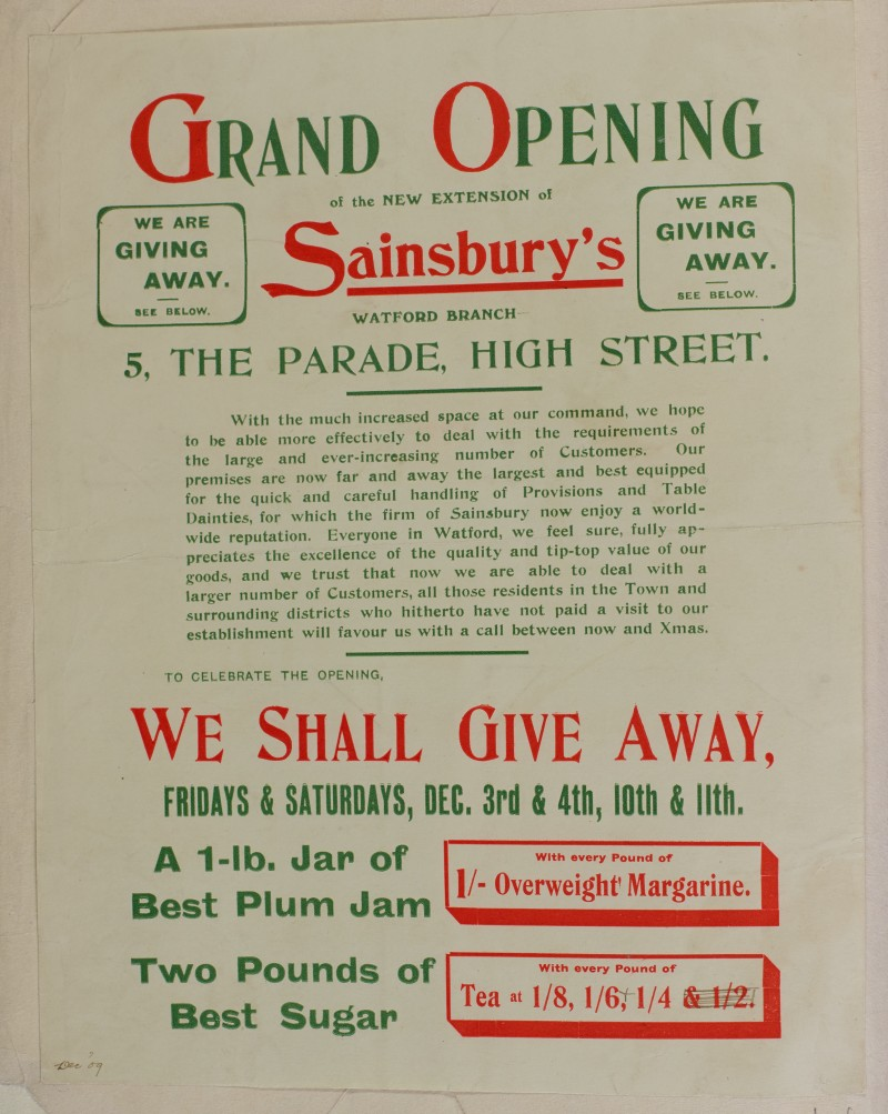 SA/MARK/ADV/1/1/1/1/1/6/1/14 - Grand Opening of new extension of store advertisement, 1909