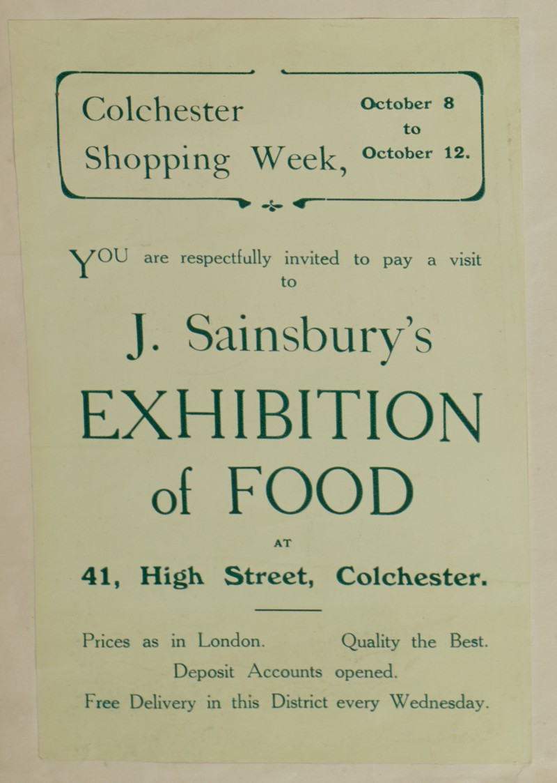 SA/MARK/ADV/1/1/1/1/1/6/1/150 - Paper leaflet advert for 'Exhibition of Food' at Colchester, [1912]