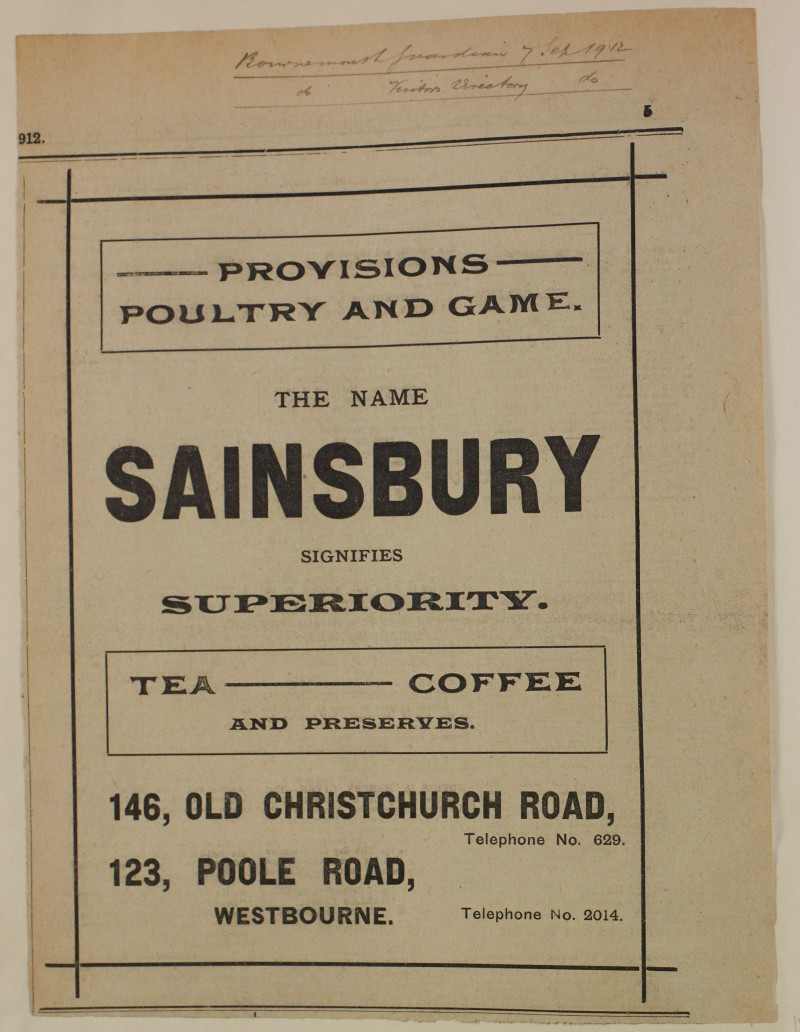 SA/MARK/ADV/1/1/1/1/1/6/1/151 - 'Provisions Poultry and Game' Newspaper advert, 1912