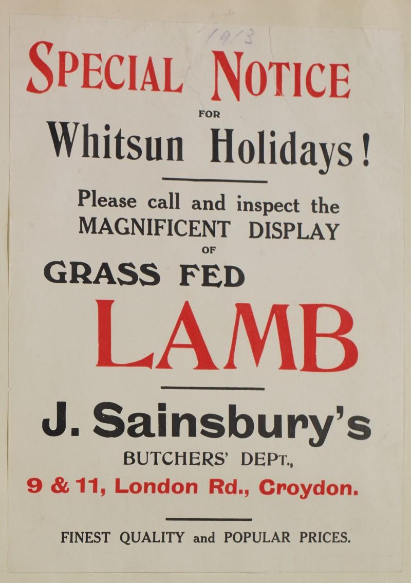 SA/MARK/ADV/1/1/1/1/1/6/1/156 - 'Special Notice for Whitsun Holidays!' Lamb advert, [1913]
