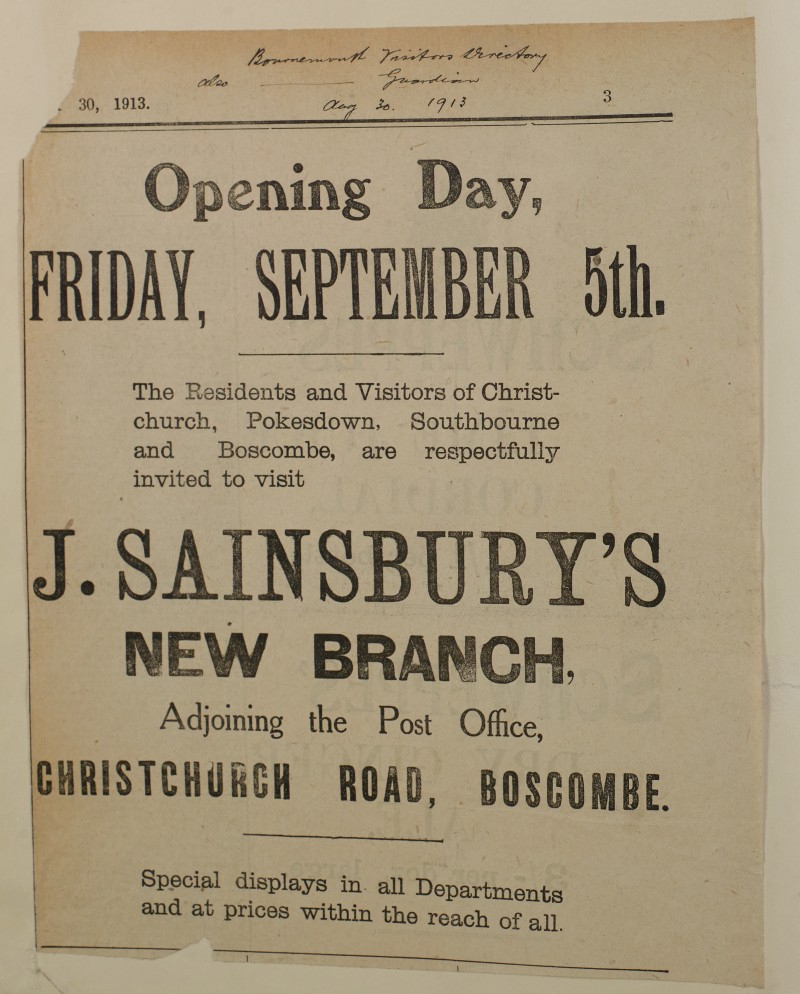 SA/MARK/ADV/1/1/1/1/1/6/1/157 - 'Opening Day' for New Branch at Boscombe advert, 1913