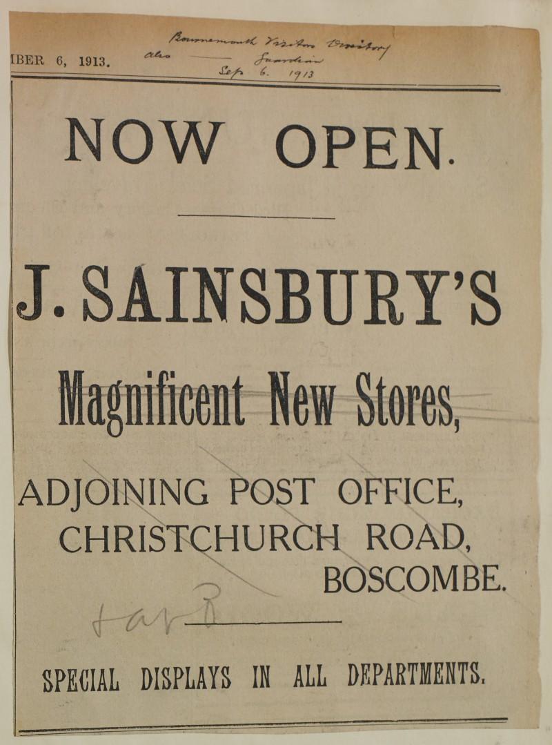 SA/MARK/ADV/1/1/1/1/1/6/1/158 - 'Now Open' New Branch at Boscombe advert, 1913