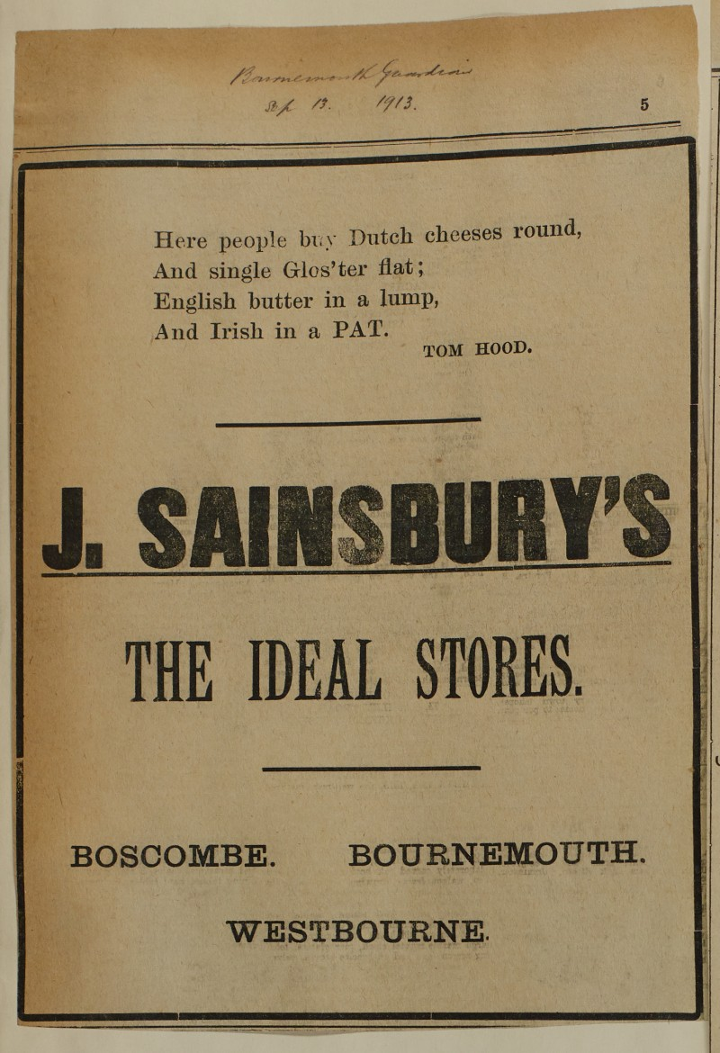 SA/MARK/ADV/1/1/1/1/1/6/1/159 - 'J. Sainsbury's The Ideal Stores' cheese and butter advert, 1913