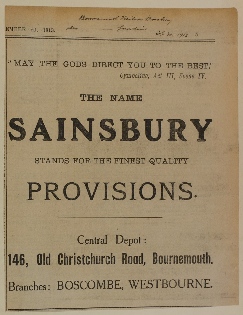 """SA/MARK/ADV/1/1/1/1/1/6/1/161 - """"The Name Sainsbury stands for the Finest Quality Provisions"""" newspaper advert"""