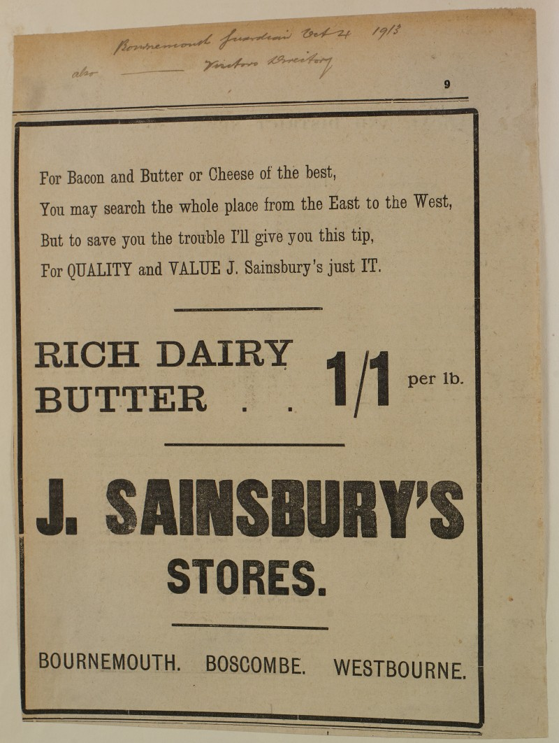SA/MARK/ADV/1/1/1/1/1/6/1/162 - Newspaper advert for Butter, Bacon and Cheese